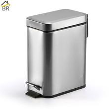 BR Silent Stainless Steel Trash Can Bathroom Kitchen Living Room Office 5L Garbage Dust Bin Storage Bucket Storage Box Waste Bin