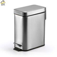 цена на BR Silent Stainless Steel Trash Can Bathroom Kitchen Living Room Office 5L Garbage Dust Bin Storage Bucket Storage Box Waste Bin