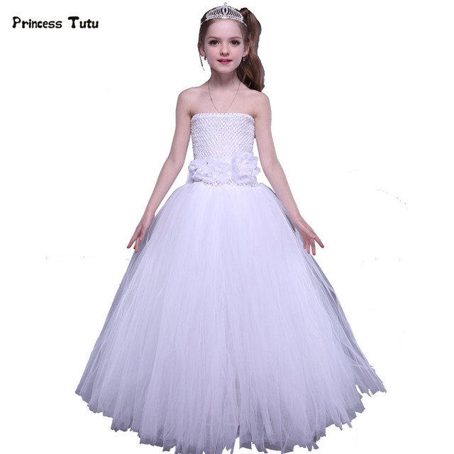 3e2f1ab1bfe Tulle Flower Girl Dresses White Fluffy Tutu Dress Kids Wedding Pageant Ball  Gown Girls Birthday Party Princess Dress Costumes