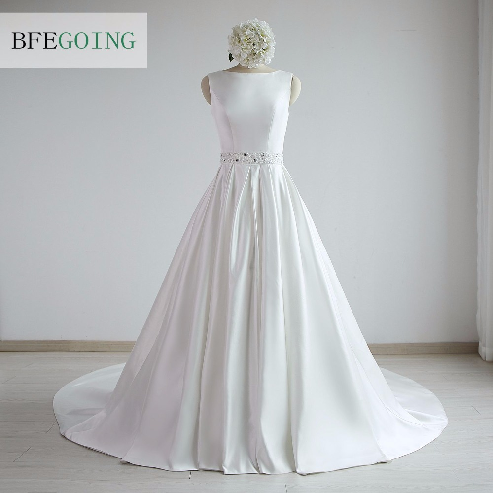 A-line Satin Boat Neck Wedding dress Floor-Length Chapel Train Sleeveless Beading Belt Real/Original Photos Custom made 1