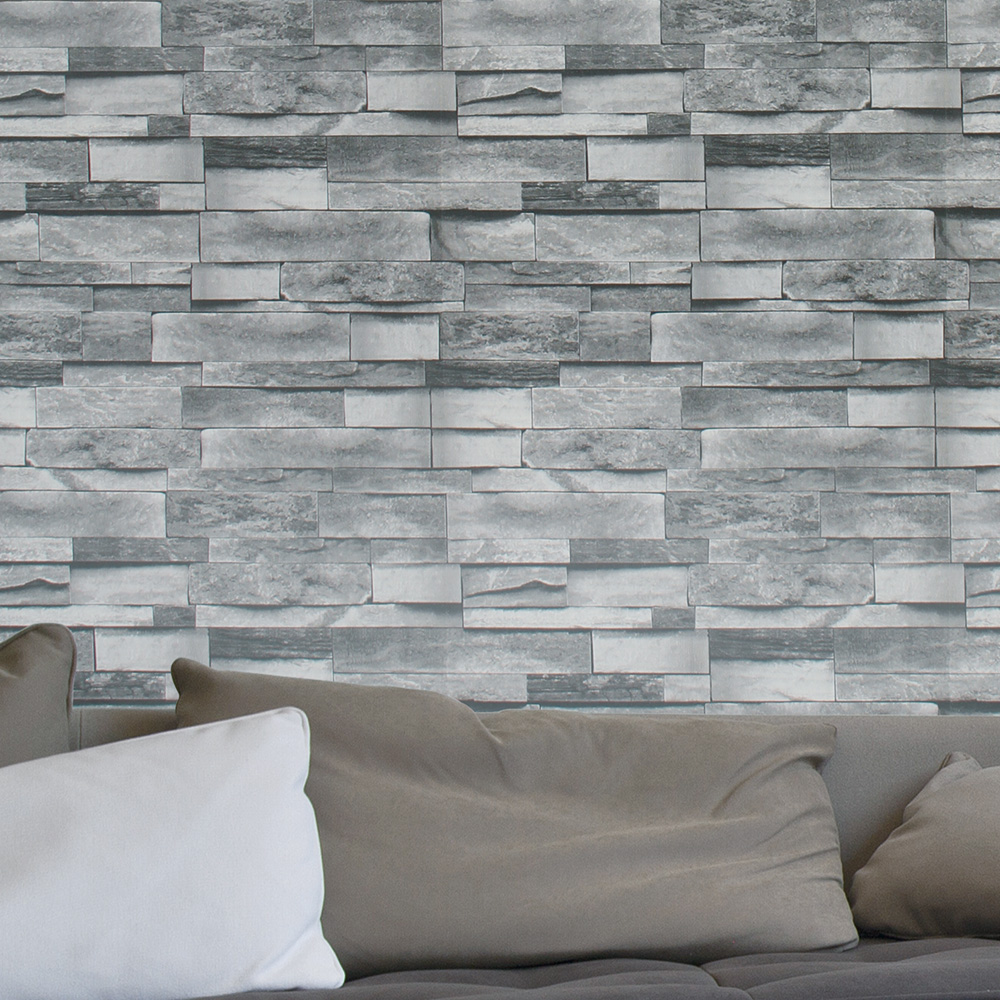 HaokHome Modern Faux Brick 3D Vinyl Wallpaper PVC Grey Textured Realistic  Stone Rolls Living Room Bedroom Home Wall Decoration In Wallpapers From  Home ...