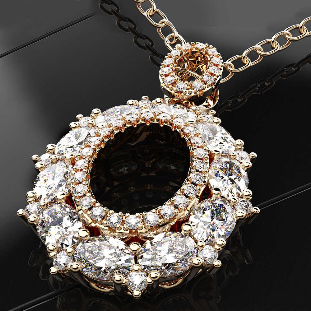 Rainbamabom luksusowe prawdziwe 925 stałe Sterling Silver utworzono Moissanite kamień Birthstone wisiorek naszyjnik Fine biżuteria hurtowych