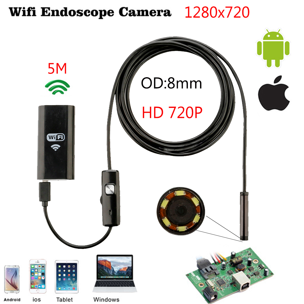 ФОТО 8mm 5M Wireless Wifi Endoscope Android Camera Borescope HD 1280 * 720 IP67 Waterproof Inspection IOS Iphone Endoscope Camera