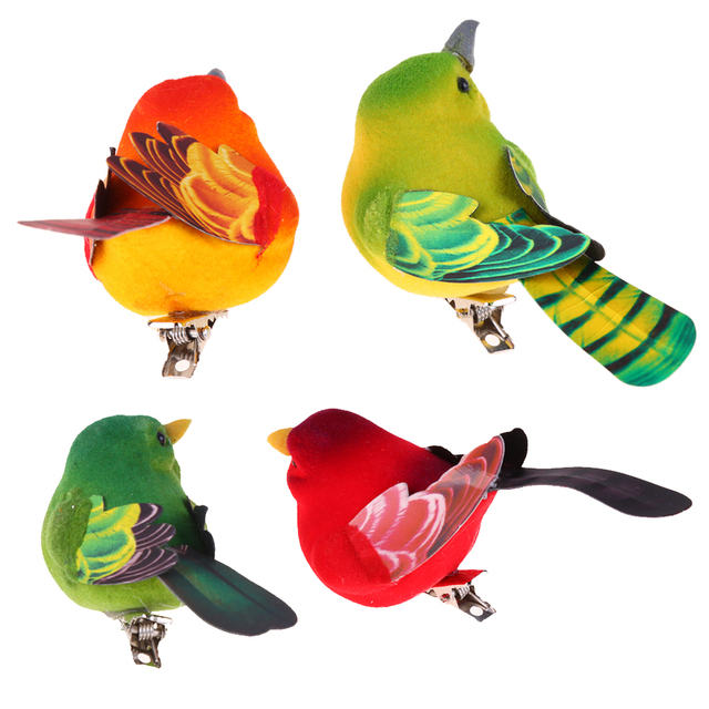 2pcs/Pack Cute Artificial Bird Home Table Garden Decoration Ornament Gift for Friend Cute Mini Foam Feather Bird Sparrow Tit 1