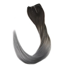Full Shine Flip Remy Human Hair Extension with Fish Line Ombre Color #1B to Silver Hairpieces No Clip No Gule Halo Extensions