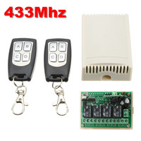 DC 12V 3A 4CH 200M Wireless Remote Control Relay Switch Transceiver With 2 Receiver Compatible 433mhz