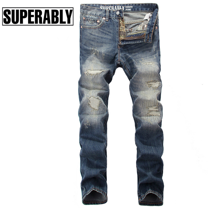 Superably Brand Men Jeans High Quality Classic Denim Stripe Jeans Mens Pants Straight Slim Fit Destroyed Ripped Jeans For Men 2017 slim fit jeans men new famous brand superably jeans ripped denim trousers high quality mens jeans with logo ue237