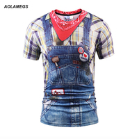 Aolamegs 3D Men Women T Shirt Short Sleeve Summer New False Two Pieces Denim Bib Overalls