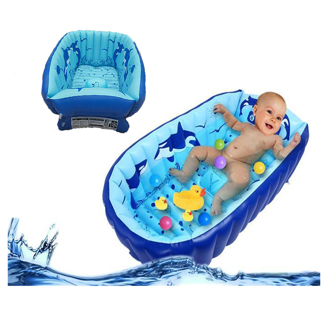 Inflatable Baby Bathtub Cartoon Safety Inflating Bath Tub for ...