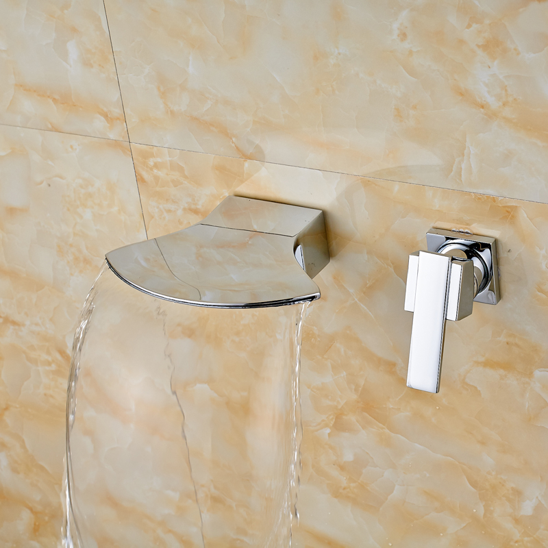 Chrome Polished Wall Mounted Bathroom Sink/ Tub Faucet Hot and Cold Water Mixer Tap