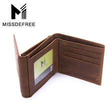 Top Crazy Horsehide Leather Men Wallet With Back Pocket Genuine Leather Design Trifold Purse Carteira Masculina ID Card Holder
