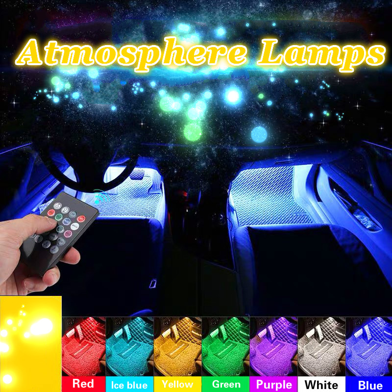 JURUS 4Pcs RGB Flexible Strip Led Car lights Interior Car Ambient Light Atmosphere Lamp Wireless Remote 12V Cigarette Lighter-in Decorative Lamp from Automobiles & Motorcycles