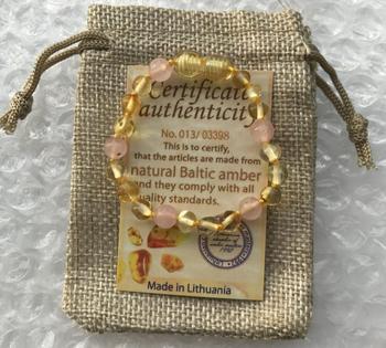 Bracelet Ambre Et Quartz Rose