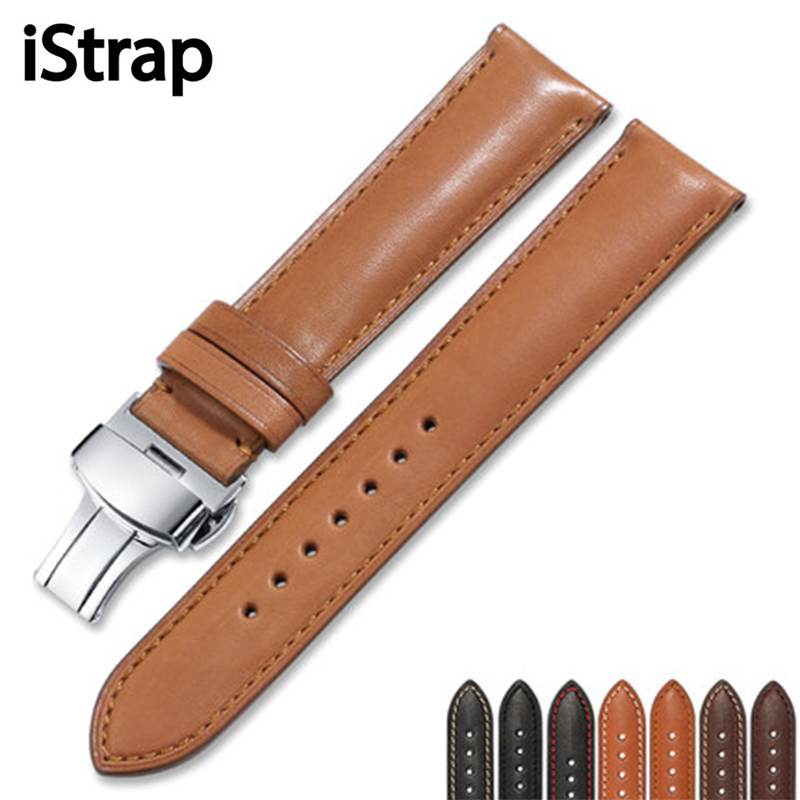 iStrap France  Genuine Leather  18mm to 22mm Watch Band Strap Men  Women Bracelet  Butterfly Buckle For Tissot Omega Seiko IWC men calf leather watch strap 20mm 21mm 22mm genuine leather watch band for iwc for omega for seiko with silver pin buckle