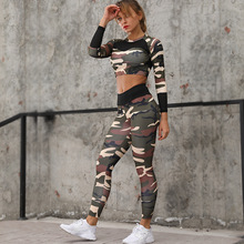 где купить Camouflage Hoodie Running Sets Woman Yoga Suits Gym Run Long Sleeves Top Pants Fitness Sport Jogging Suit For Women New по лучшей цене