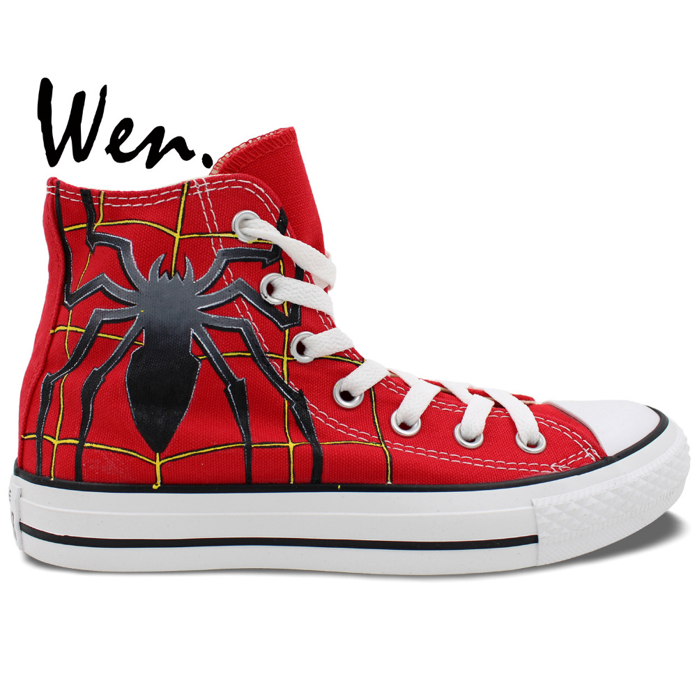 Wen Hand Painted Red Canvas Shoes Design Custom Spider Man Men Women's High Top Canvas Sneakers Girls Boys Gifts wen original hand painted canvas shoes space galaxy tardis doctor who man woman s high top canvas sneakers girls boys gifts