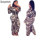Women One Piece Outfits Jumpsuits Long Sleeve Bodycon Long Pants Sexy Printed Rompers Playsuit  V Neck Elegant Ladies Overalls