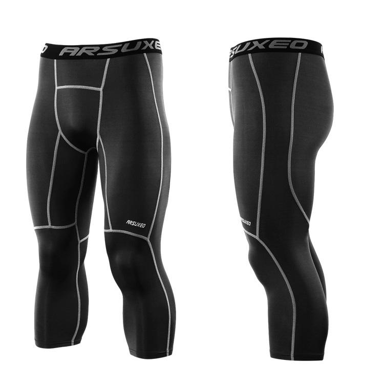 Meggings - leggings pour homme coupe 3/4 pantacourt de sport gym yoga noir, vue latérale