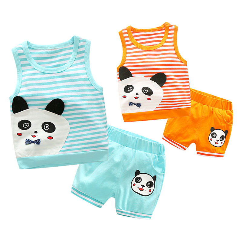 Summer Cartoon Baby Girls Clothing Cotton Sleeveless Striped Panda Pattern Newborn Baby Clothes Vest + Shorts 2pcs Infant Set cotton baby rompers set newborn clothes baby clothing boys girls cartoon jumpsuits long sleeve overalls coveralls autumn winter