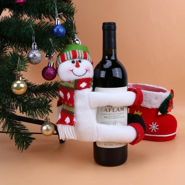 online shop christmas large wine bottle cover santa claus snowman hug bottle christmas decorations for home new year table ornament aliexpress mobile - New Christmas Decorations