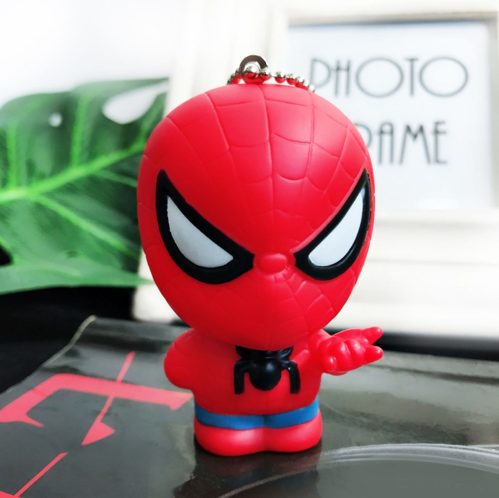 2019 Funny Avengers Super Hero LED Keychain Women Pendant Light PVC Spiderman Batman Key Ring Kids Cosplay Gift Toys Keychain in Key Chains from Jewelry Accessories