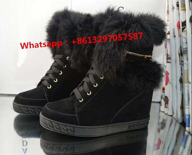 Women Warm Winter Boots With Fur Inside Height Increasing Wedge Heel Ankle Snow Booties Brand Platform Leather Shoes 2016 rhinestone sheepskin women snow boots with fur flat platform ankle winter boots ladies australia boots bottine femme botas