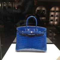 High Glossy Luxury Original top quality real genuine crocodile skin women handbag 30cm full whole handmade original quality bag