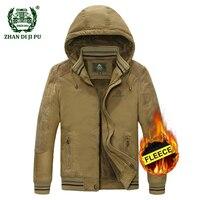 2018 החורף לעבות סלעית של גברים בתוספת גודל M-5XL מעיל ירוק צבא jeep afs חאקי מותג מזדמן אדם 100% כותנה גיזת מעילי jacket