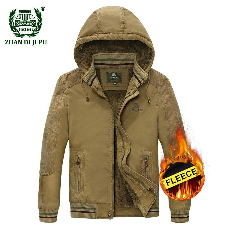 Erkek Kıyafeti'ten Ceketler'de 2018 Artı boyutu M 5XL erkek kış kalınlaşmak kapüşonlu ordu yeşil ceket erkek rahat marka % 100% pamuk afs jeep haki polar ceket mont'da  Grup 1
