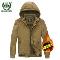 2018 Plus size M-5XL men's winter thicken hooded army green coat man casual brand 100% cotton afs jeep khaki fleece jacket coats