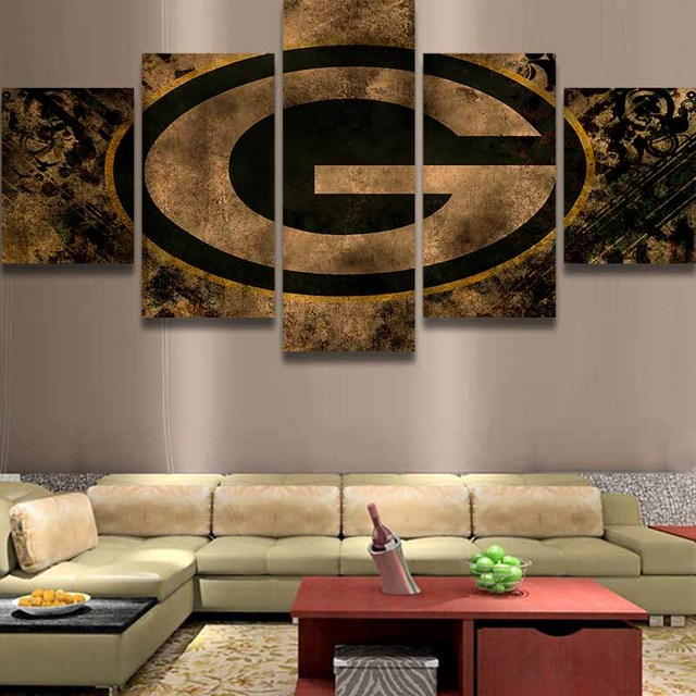 Bon 5 Panel Green Bay Packers Sports Team Logo Painting Canvas Wall Art Picture Home  Decor Living