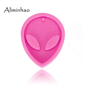 Image 2 - DY0070 Shiny Alien Keychains mold silicone mould for Key chain Pendant polymer clay DIY Jewelry  Making epoxy Resin mold