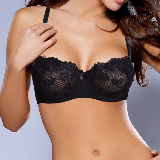 Women Sexy Underwire Unpadded Embroidery Lace Bra Mesh Lined Brassiere  Bralette Push Up Bras Size 34 5fef1a498