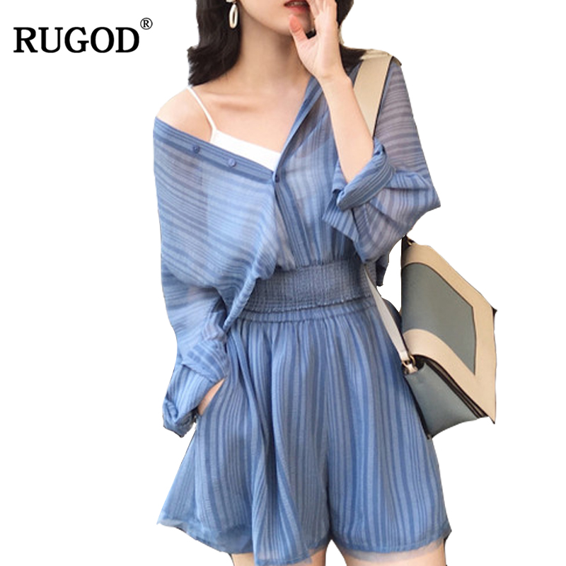 RUGOD 2018 Fashion Summer Striped Tracksuits Women Casual Long Sleeve Shirt + High Elastic Waist Shorts Suit 2 Two Piece Set ...