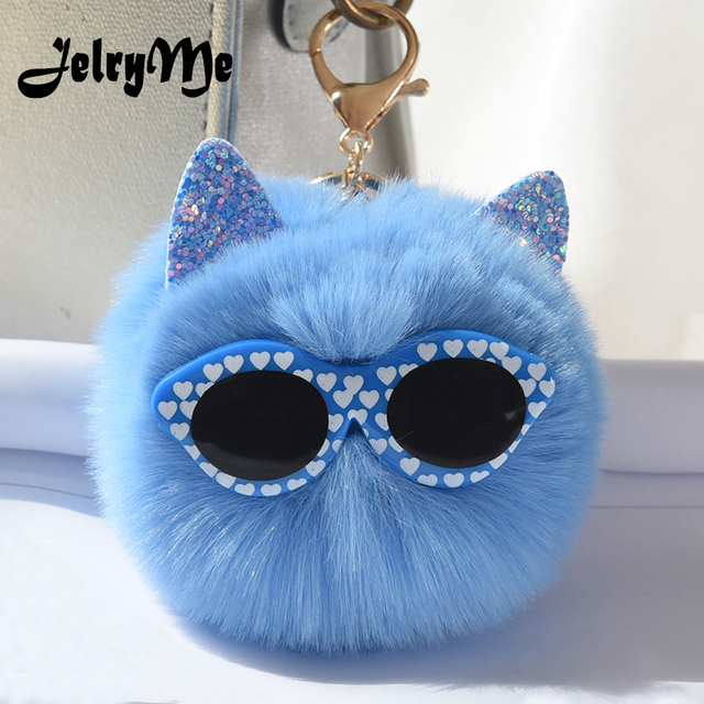 10CM Big Fluffy Fur Ball Women Keychains Sequins Ear Heart Glasses Cat  Keyring Faux Rabbit Fur Pompom Key Chains Holder Jewelry 3c3b33e1e784