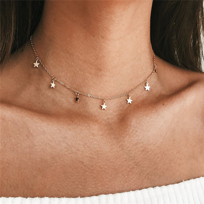 Bohemian Ethnic Necklace Rose Necklace Women Chocker Minimalist Short Chain Gold Ketting Rhinestone Collares Femme Collar Mujer Necklaces & Pendants
