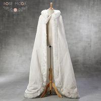 Роза Moda цвета слоновой кости Искусственный мех теплый длинный мыс с шляпа свадебное болеро пальто для зимы Свадебные Длинные куртки