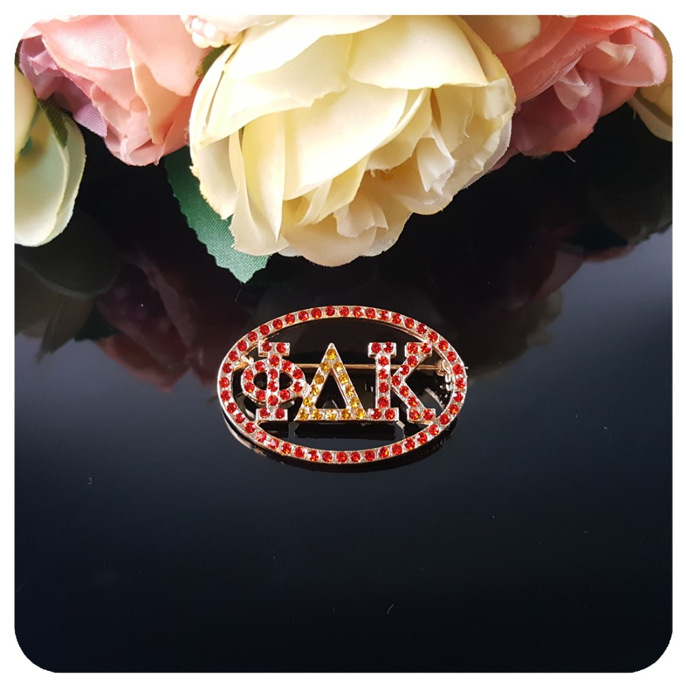 Red amp Gold Rhinestones Custom Made Lapel Pin Greek Letter quot Phi Thelta Kapa quot Brooch in Brooches from Jewelry amp Accessories