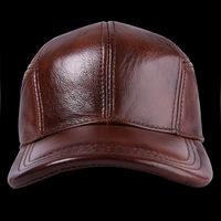 Male Genuine Leather Hat Cowhide Baseball Cap Ear Protection Elderly Leather Casual Outdoor Baseball Cap Adjustable B 7192