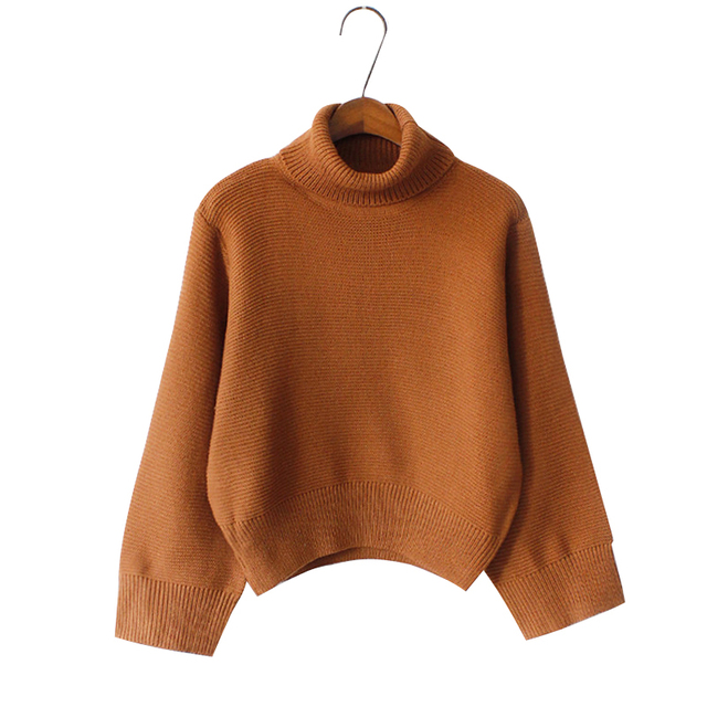 Aliexpress.com : Buy Women Solid Khaki Turtleneck Short Pullover ...