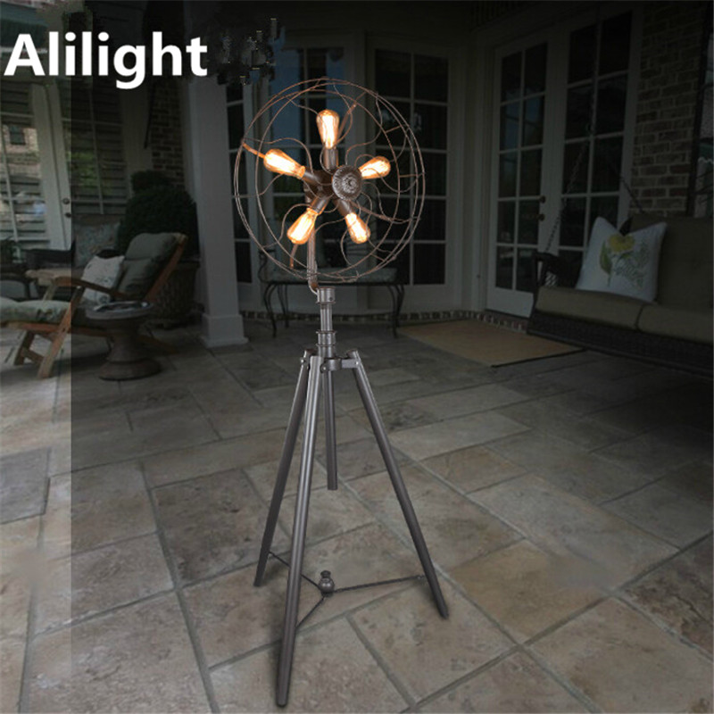 Modern Iron Floor Lamp Individuality Electric Fan Light Standing For Dining Living Room Studio