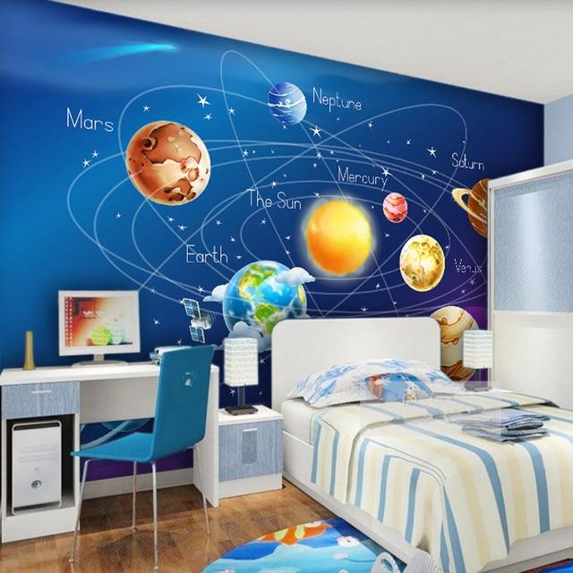 Online Shop Custom Mural Wallpaper 3D Cartoon Planet Solar System ...