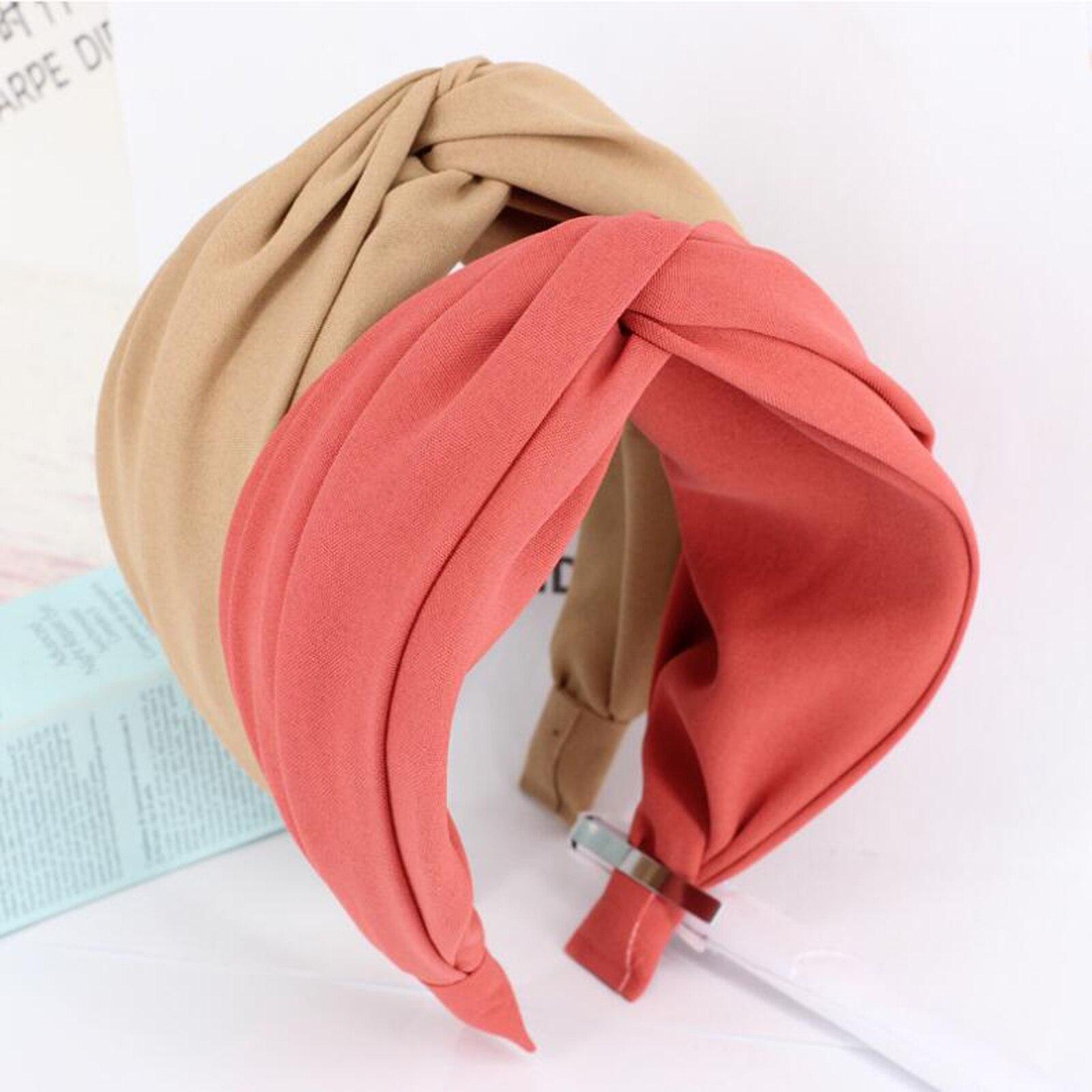 New Classic Turban Women Headband Solid Hairband Wide Side Hair Band Solid Wide Plastic Hair Hoop Accessories