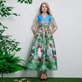 2017 Весна Осень Новых женщин Классический Романтический Стиль Цветок Здание Печати Slim Dress Женщины Длинные Взлетно-Посадочной Полосы Платья