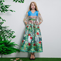2017 Spring Autumn New Women's Classical Romantic Style Flower Building Printing Slim Dress Women Long Runway Dresses
