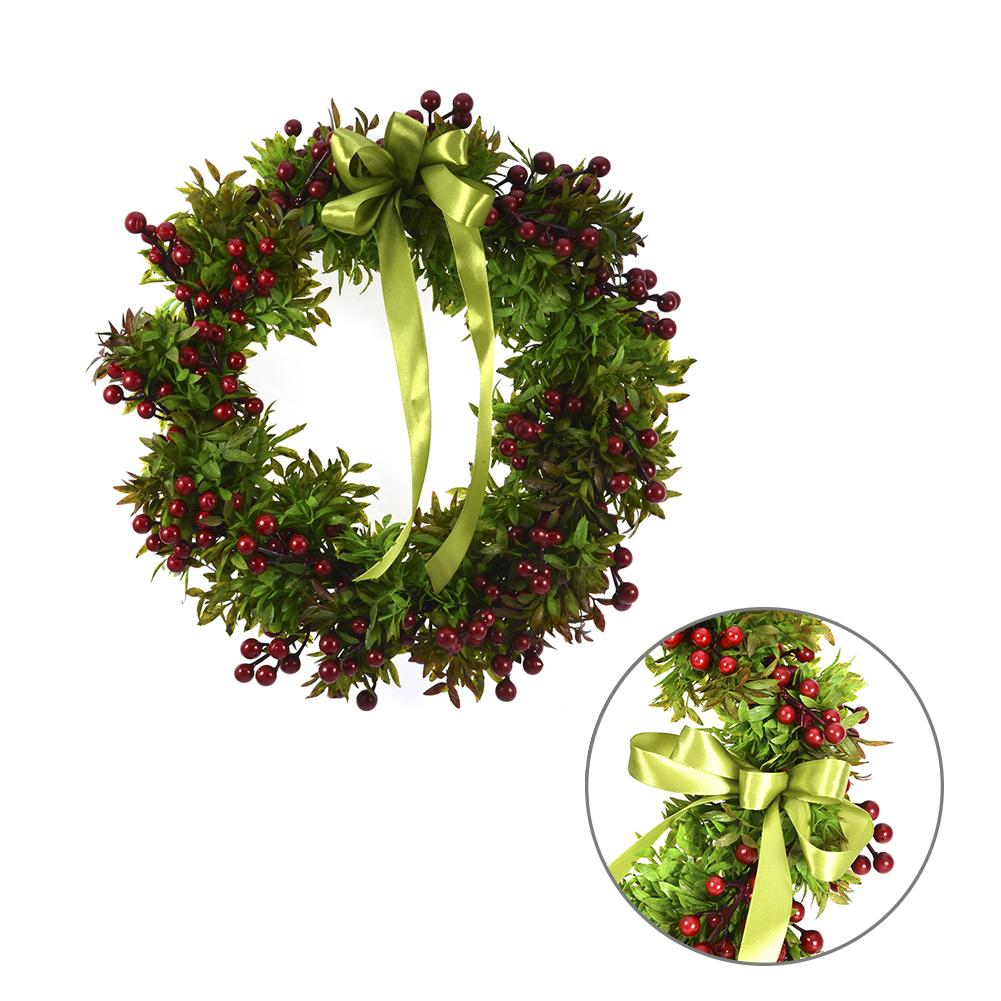 Festive & Party Supplies Artificial Decorations Knowledgeable Augkun Simulation Green Plant Red Fruit Flowers Wreath Artificial Flower Spring Door Wreath Craft Decoration For Diy Home Decor Commodities Are Available Without Restriction