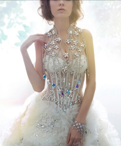 4fceb6cdad03 Zuhair Murad Luxury Diamond Chain Beading White Tulle Tiered Ball Gown  Wedding Dresses Transparent Style-in Wedding Dresses from Weddings & Events  on ...