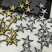 40 шт. 2,5*2,5 см вышитые золото/серебро пентаграмма star патч Мини-заполненные отверстие железа на одежде DIY декоративные наклейки AC123