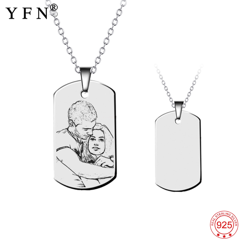 Necklace 925 Sterling Silver Custom Name Photo Necklace Personalized Engraved Pendants Necklaces Fashion Jewelry Unisex X0027