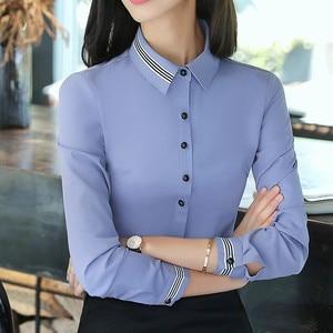 Image 2 - Moda kadın kıyafetleri pamuklu uzun kollutişört gömlek yeni sonbahar siyah ince bluz ofis bayanlar iş artı boyutu resmi üstleri